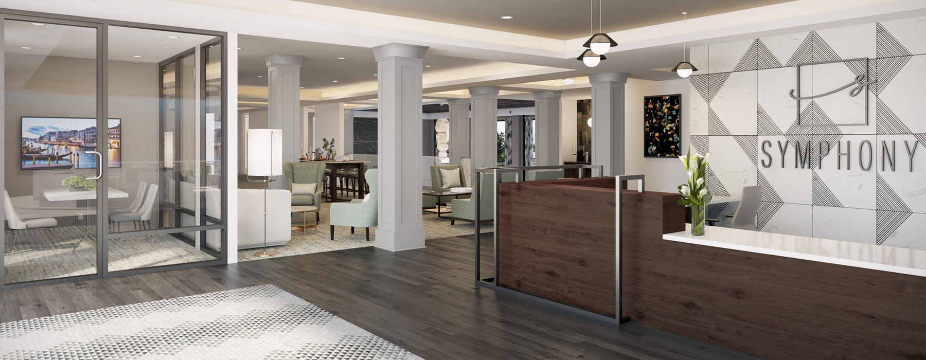 open lobby and leasing center rendering at Symphony at Suwanee Creek