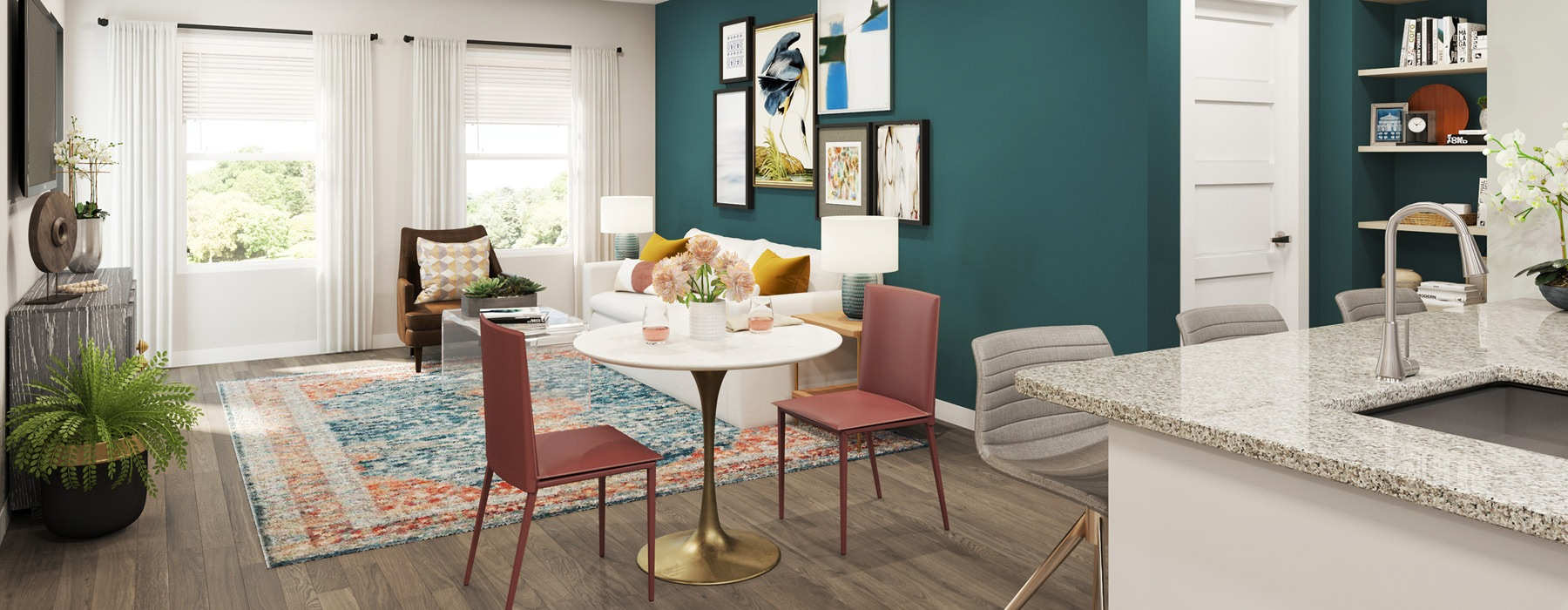 rendering of furnished and spacious apartment interior